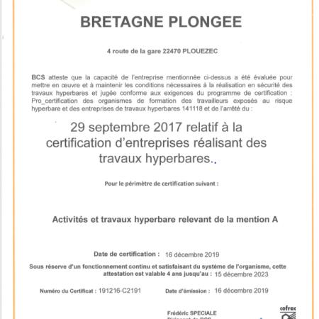 Certification Bretagne Plongée Travaux hyperbares approuvée
