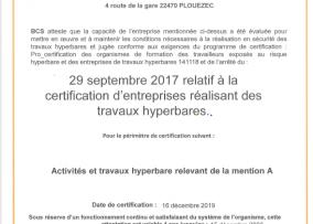 Certification BCS Travaux Hyperbares